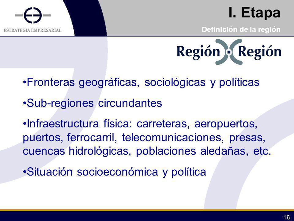 I. Etapa Fronteras geográficas, sociológicas y políticas
