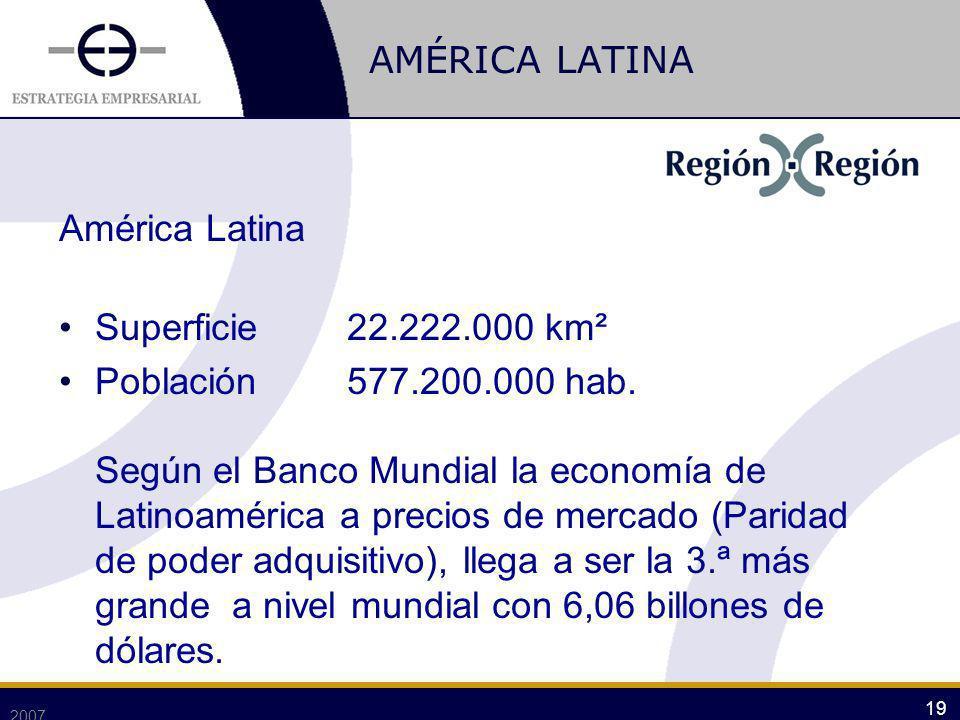 AMÉRICA LATINA América Latina Superficie 22.222.000 km²