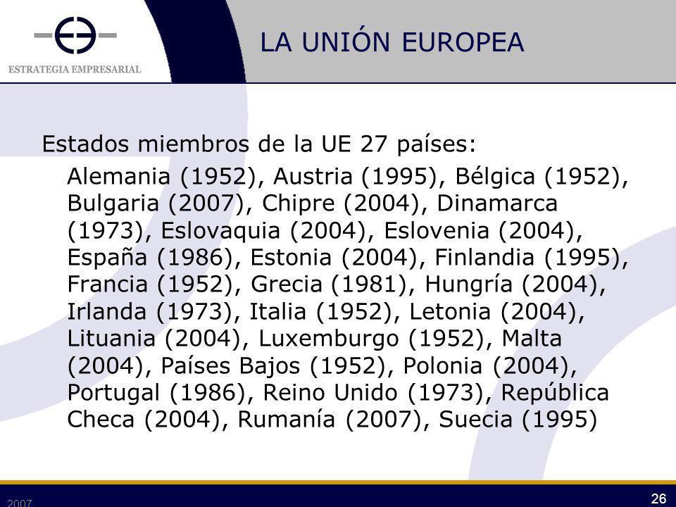 LA UNIÓN EUROPEA Estados miembros de la UE 27 países: