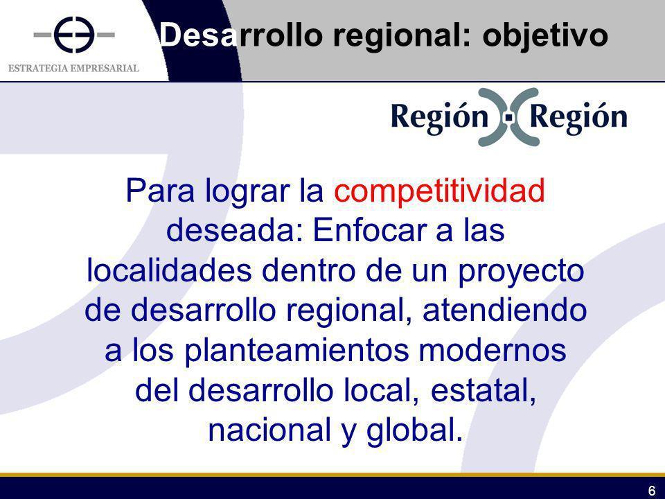 Desarrollo regional: objetivo