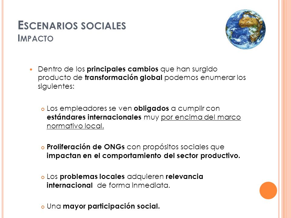 Escenarios sociales Impacto
