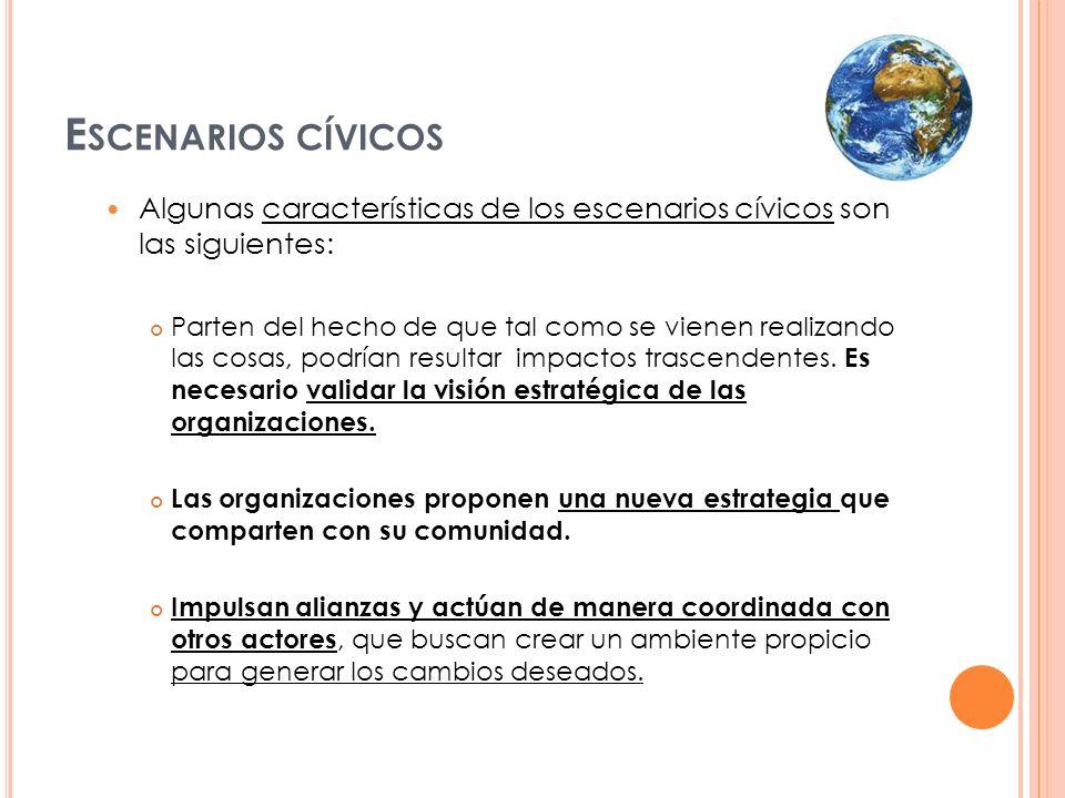 Escenarios cívicos Algunas características de los escenarios cívicos son las siguientes: