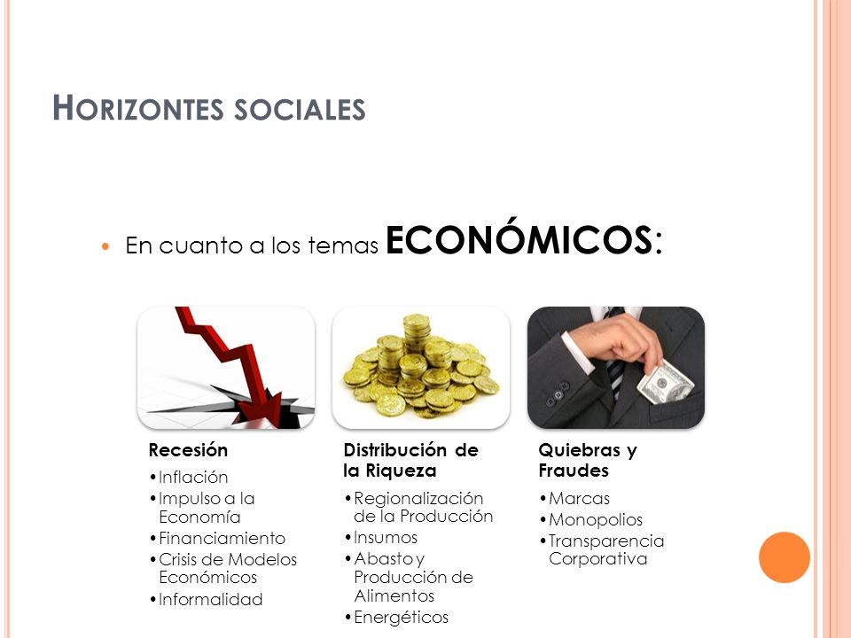 Horizontes sociales En cuanto a los temas ECONÓMICOS: Recesión