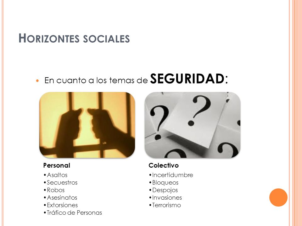 Horizontes sociales En cuanto a los temas de SEGURIDAD: Personal