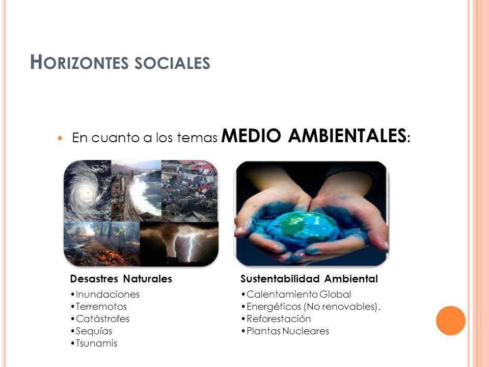 Horizontes sociales En cuanto a los temas medio ambientales: