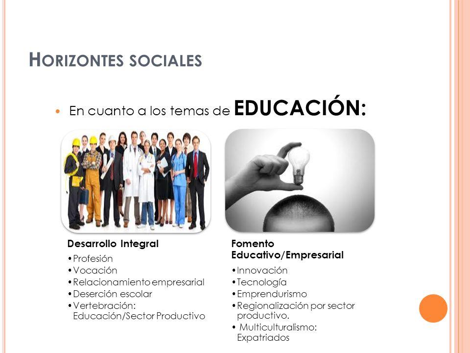 Horizontes sociales En cuanto a los temas de educación: