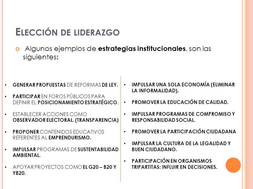 Elección de liderazgo Algunos ejemplos de estrategias institucionales, son las siguientes: IMPULSAR UNA SOLA ECONOMÍA (ELIMINAR LA INFORMALIDAD).