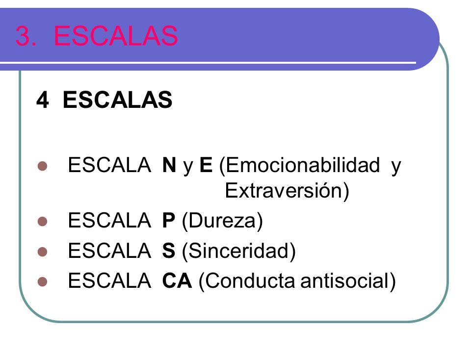 3. ESCALAS 4 ESCALAS ESCALA N y E (Emocionabilidad y Extraversión)
