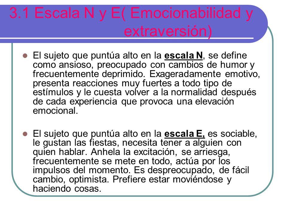 3.1 Escala N y E( Emocionabilidad y extraversión)