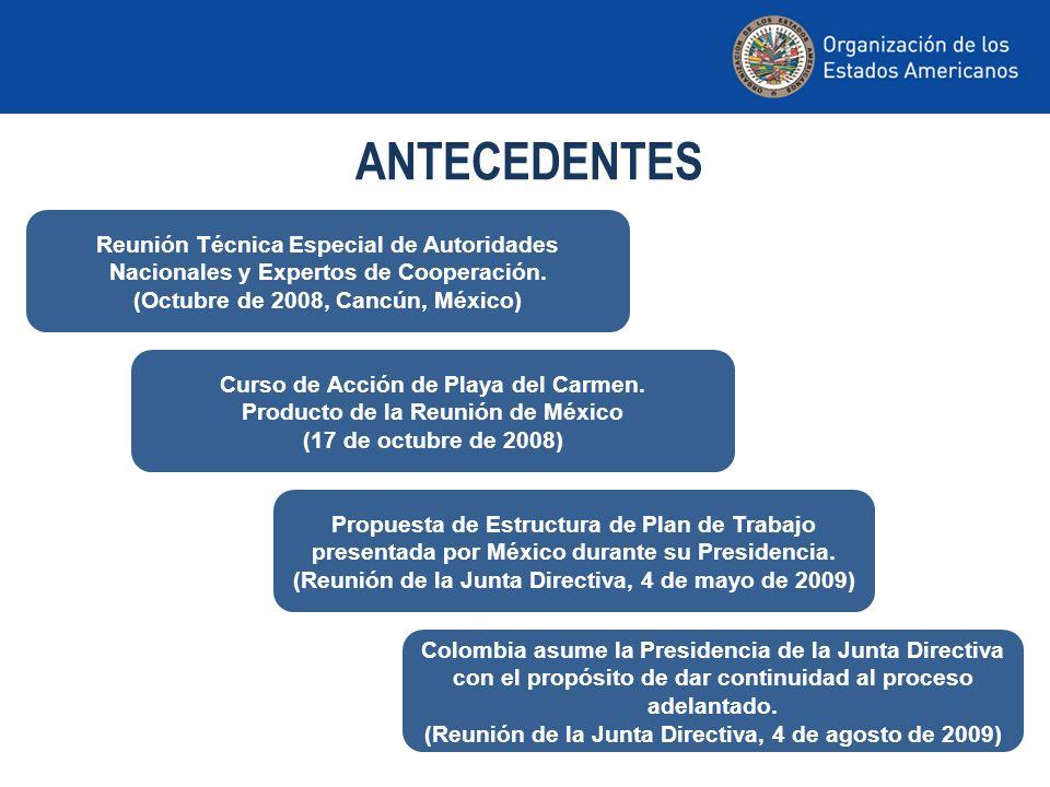 ANTECEDENTES Reunión Técnica Especial de Autoridades Nacionales y Expertos de Cooperación. (Octubre de 2008, Cancún, México)
