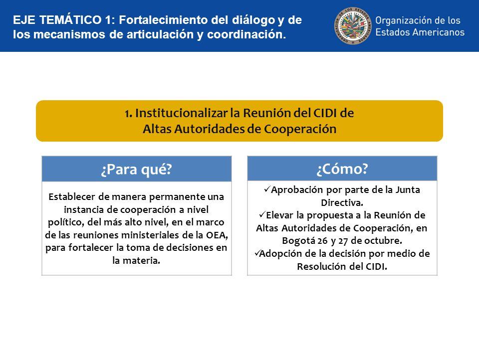¿Para qué ¿Cómo 1. Institucionalizar la Reunión del CIDI de
