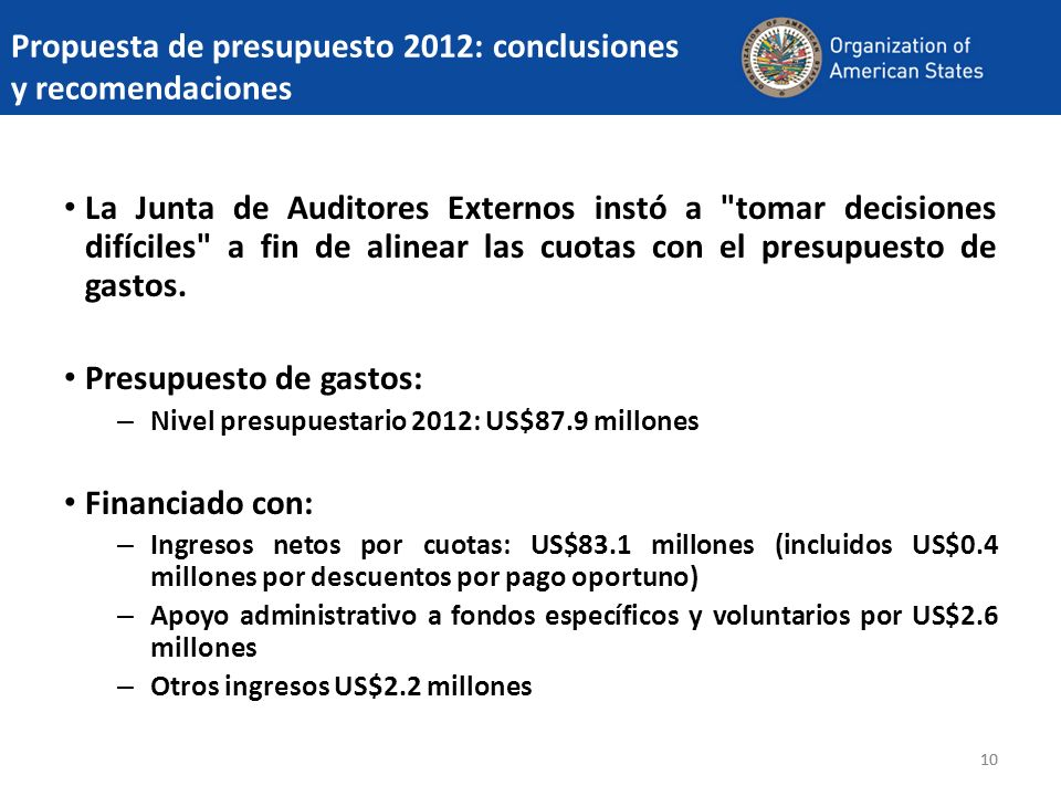 Propuesta de presupuesto 2012: conclusiones y recomendaciones