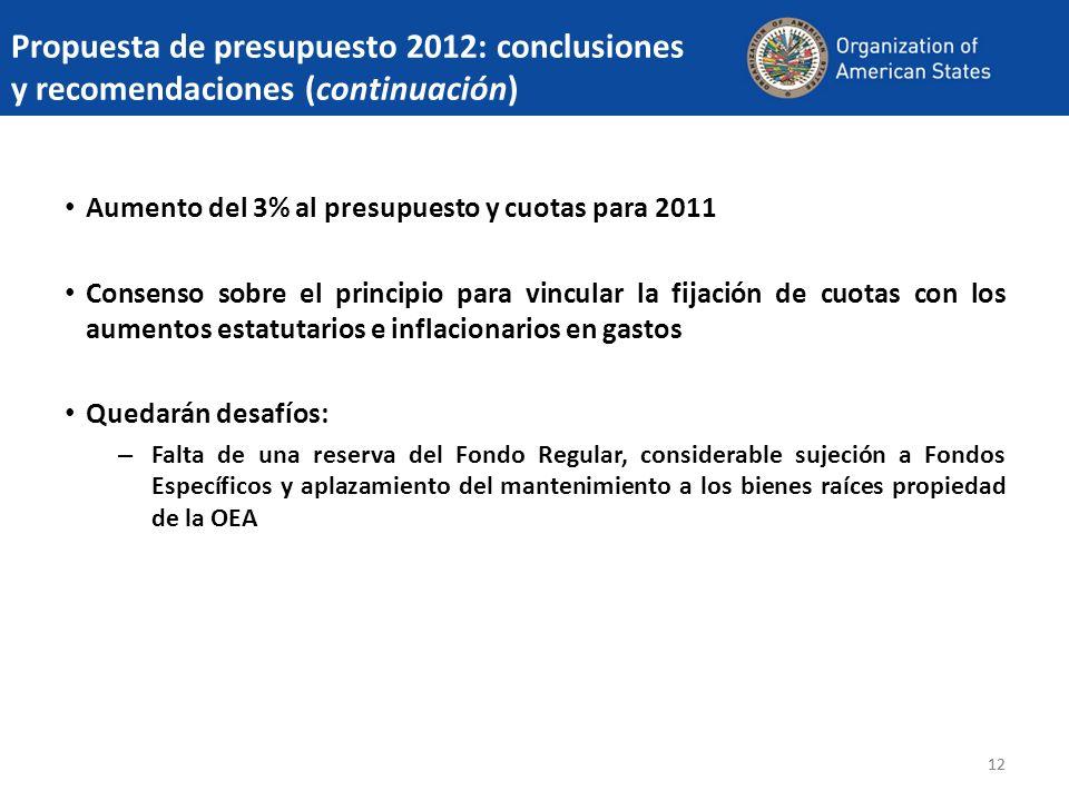 Propuesta de presupuesto 2012: conclusiones