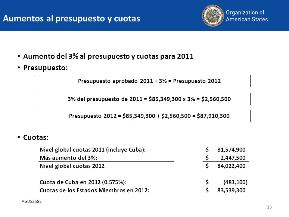 Aumentos al presupuesto y cuotas