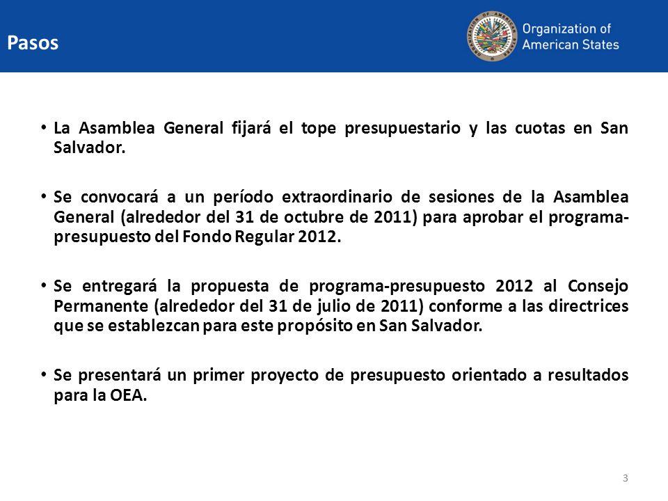 PasosLa Asamblea General fijará el tope presupuestario y las cuotas en San Salvador.