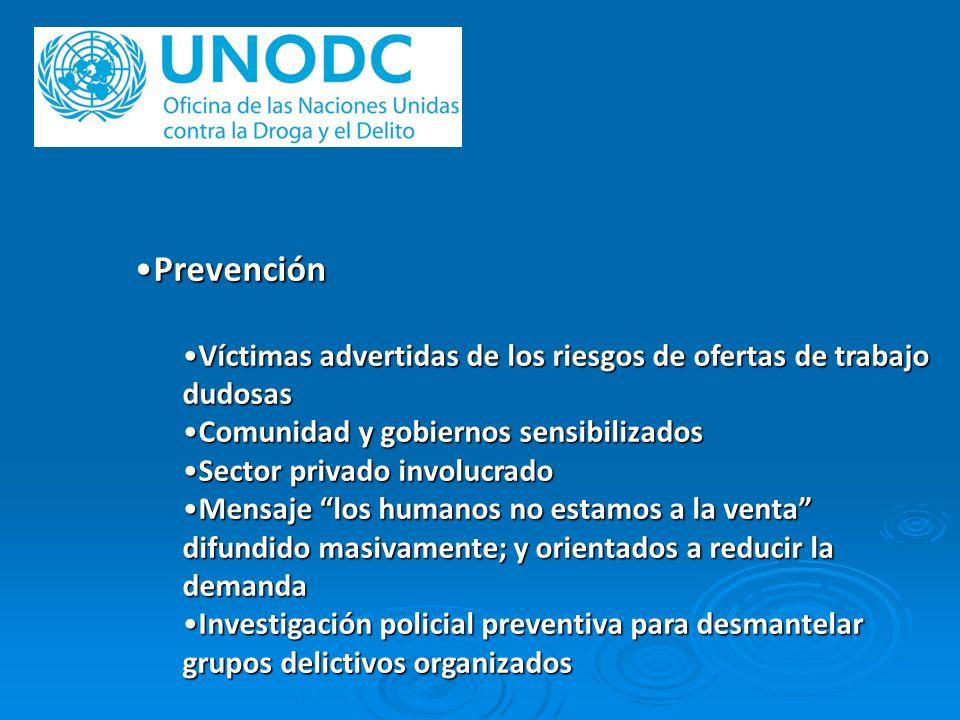 PrevenciónVíctimas advertidas de los riesgos de ofertas de trabajo dudosas. Comunidad y gobiernos sensibilizados.