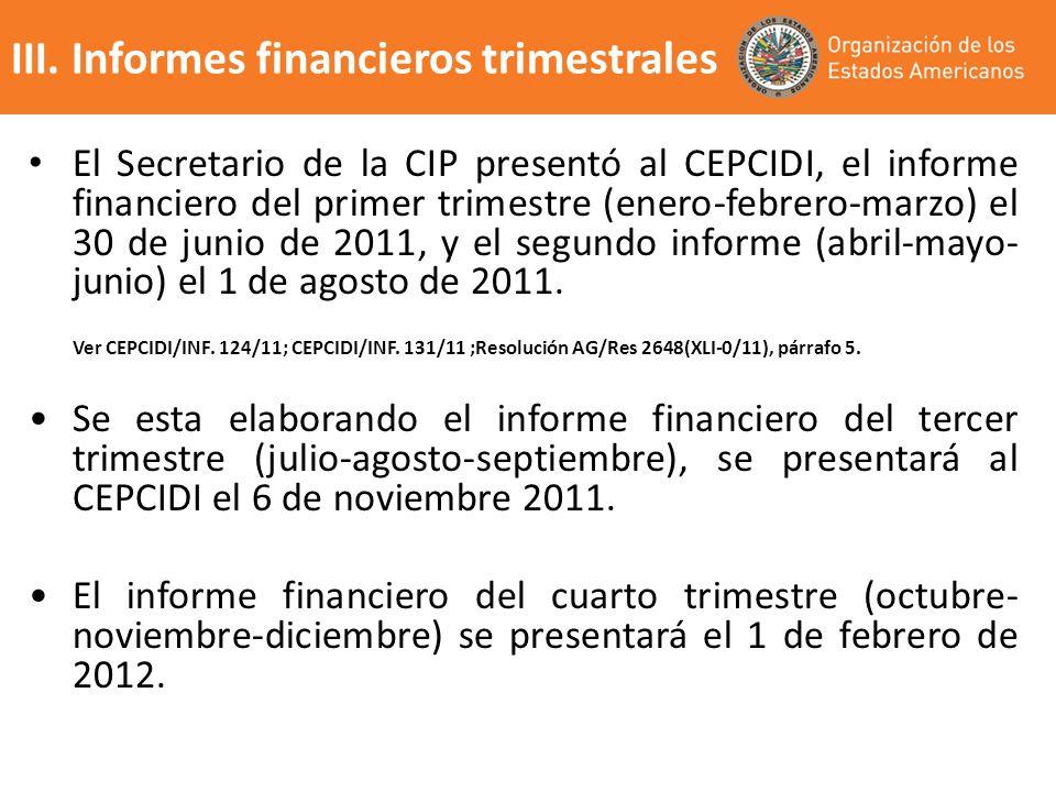 III. Informes financieros trimestrales