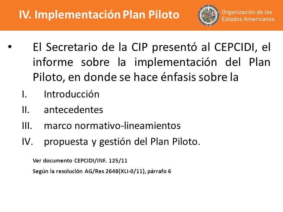 IV. Implementación Plan Piloto