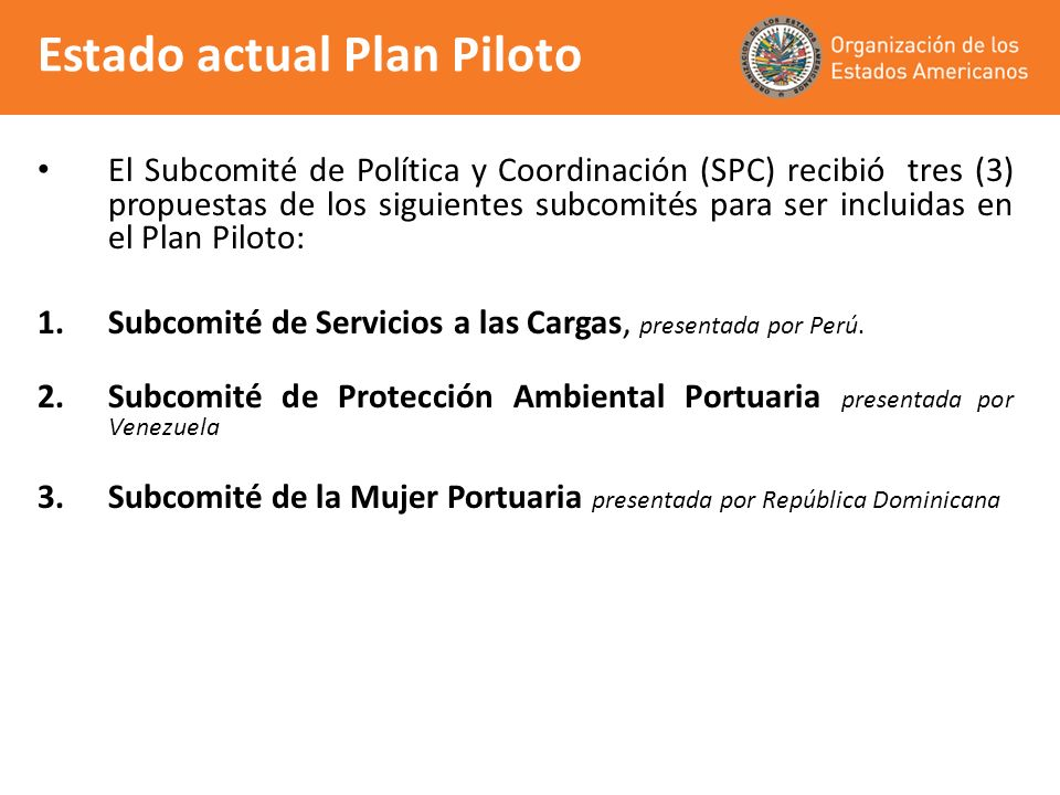 Estado actual Plan Piloto