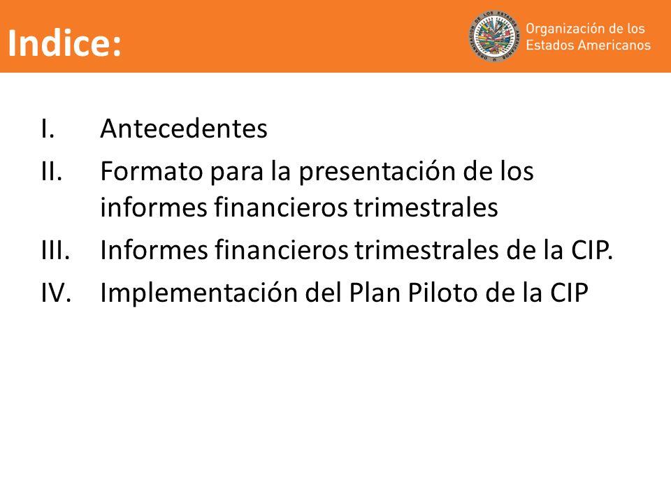 Indice: Antecedentes. Formato para la presentación de los informes financieros trimestrales. Informes financieros trimestrales de la CIP.