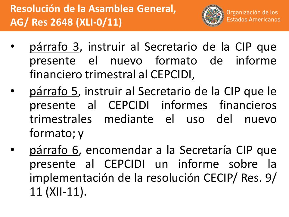 Resolución de la Asamblea General, AG/ Res 2648 (XLI-0/11)