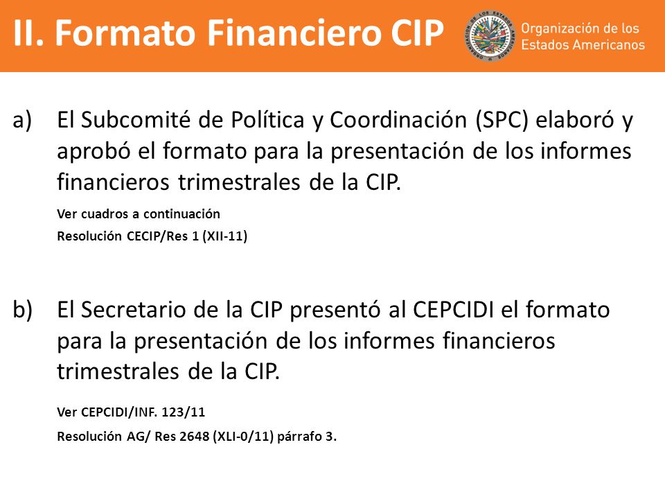 II. Formato Financiero CIP