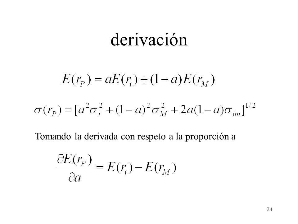 derivación Tomando la derivada con respeto a la proporción a