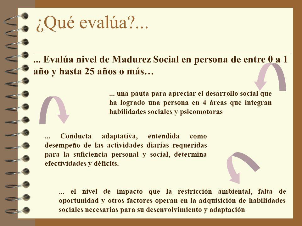 10/04/2017 ¿Qué evalúa ... ... Evalúa nivel de Madurez Social en persona de entre 0 a 1 año y hasta 25 años o más…