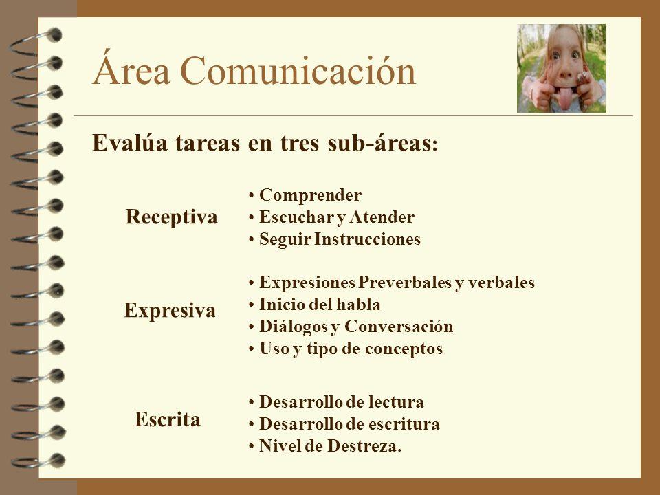 Evalúa tareas en tres sub-áreas: