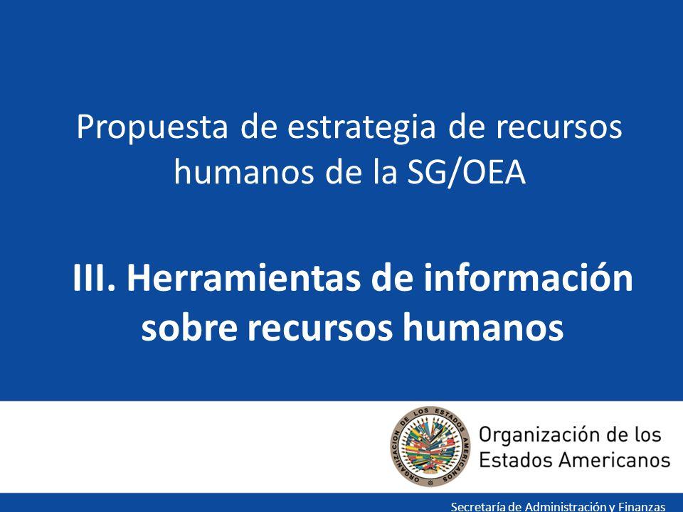 III. Herramientas de información sobre recursos humanos