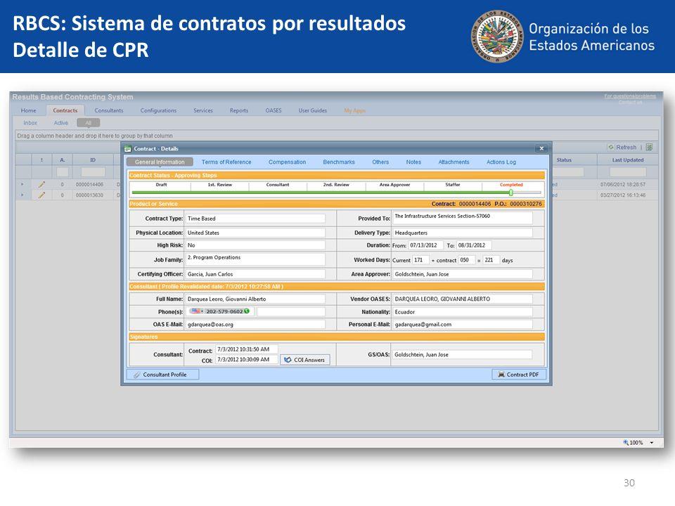 RBCS: Sistema de contratos por resultados