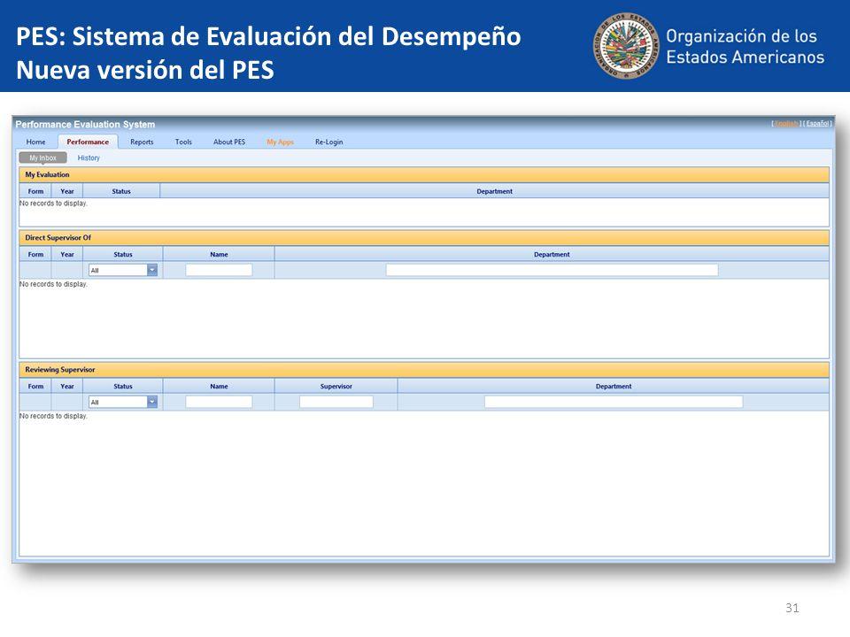 PES: Sistema de Evaluación del Desempeño