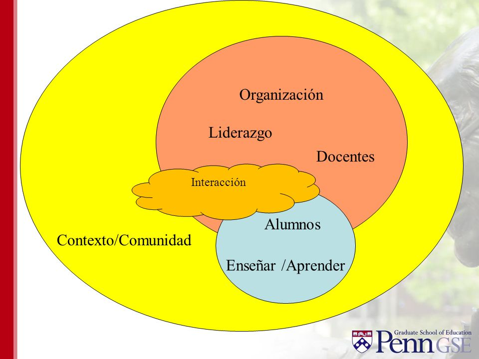 Organización Liderazgo Docentes Alumnos Enseñar /Aprender