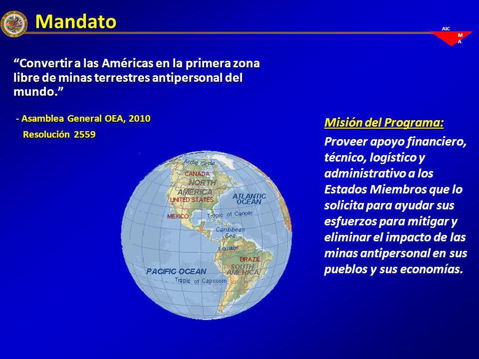 Mandato Convertir a las Américas en la primera zona libre de minas terrestres antipersonal del mundo.