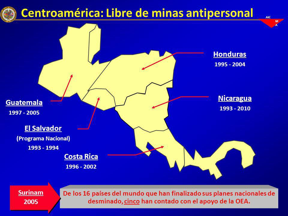 Centroamérica: Libre de minas antipersonal