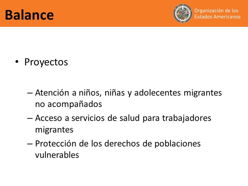 Balance Proyectos. Atención a niños, niñas y adolecentes migrantes no acompañados. Acceso a servicios de salud para trabajadores migrantes.