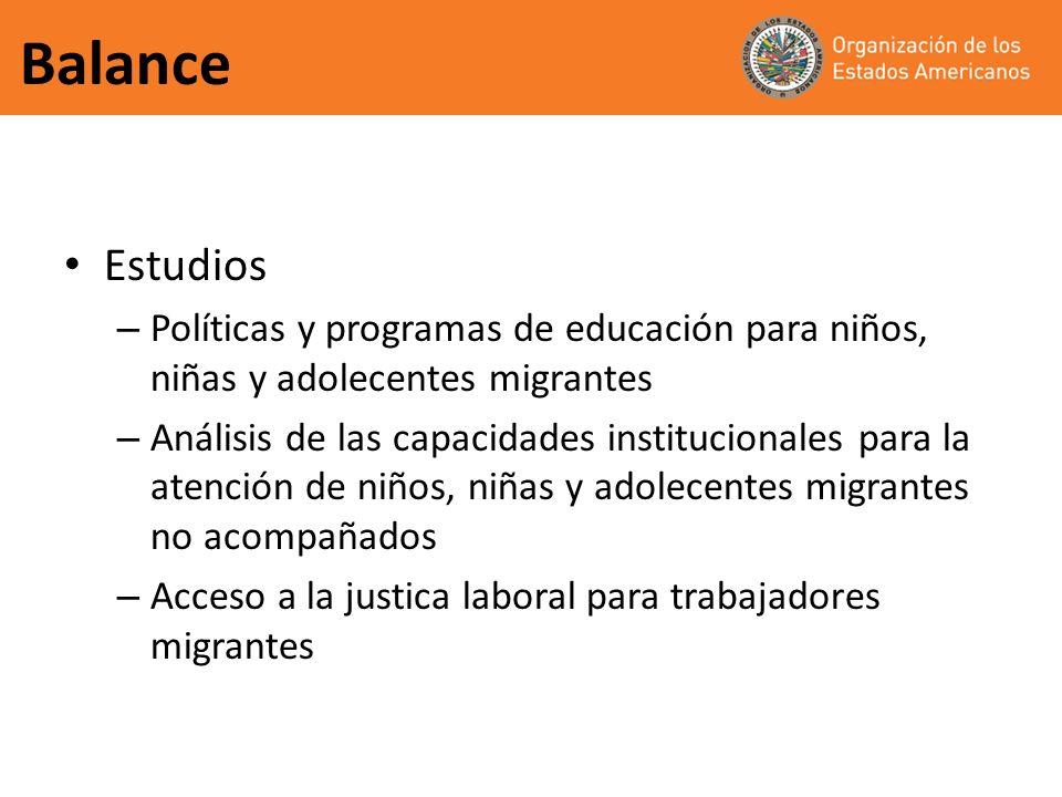 Balance Estudios. Políticas y programas de educación para niños, niñas y adolecentes migrantes.