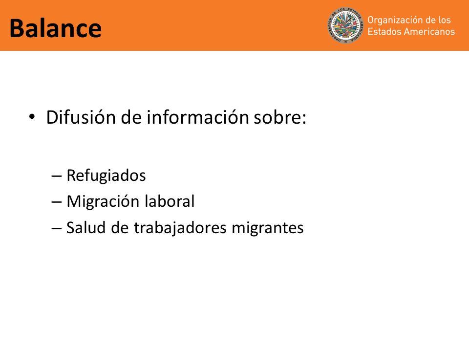 Balance Difusión de información sobre: Refugiados Migración laboral