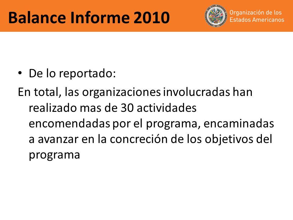 Balance Informe 2010 De lo reportado:
