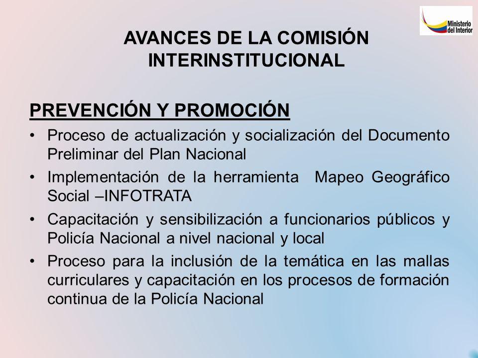 AVANCES DE LA COMISIÓN INTERINSTITUCIONAL