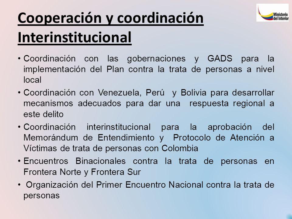 Cooperación y coordinación Interinstitucional
