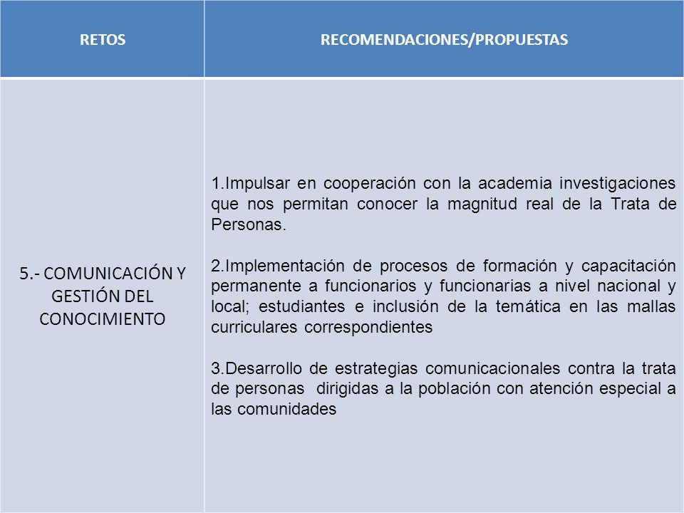 RECOMENDACIONES/PROPUESTAS