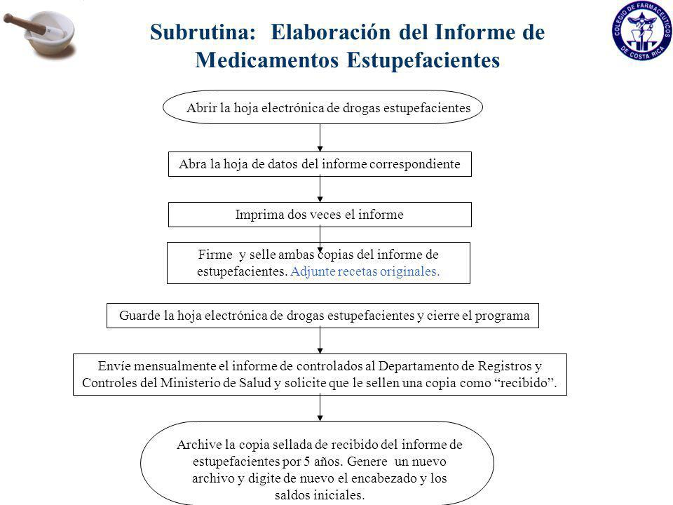 Subrutina: Elaboración del Informe de Medicamentos Estupefacientes