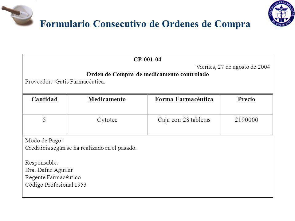 Formulario Consecutivo de Ordenes de Compra