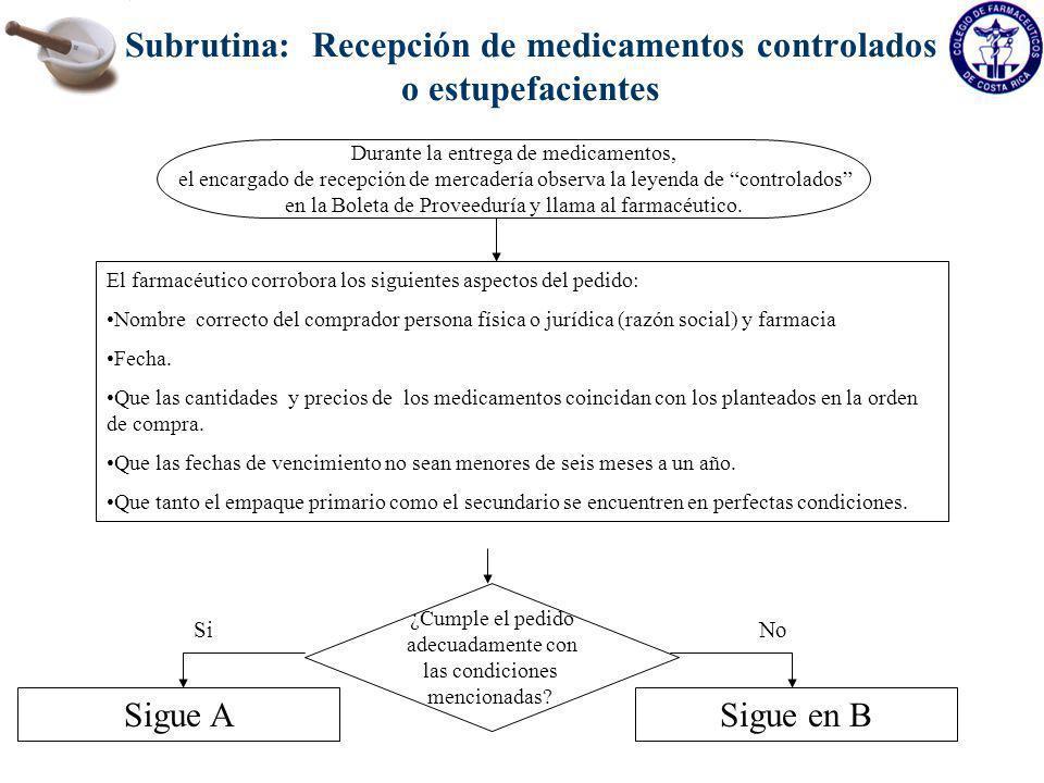 Subrutina: Recepción de medicamentos controlados o estupefacientes