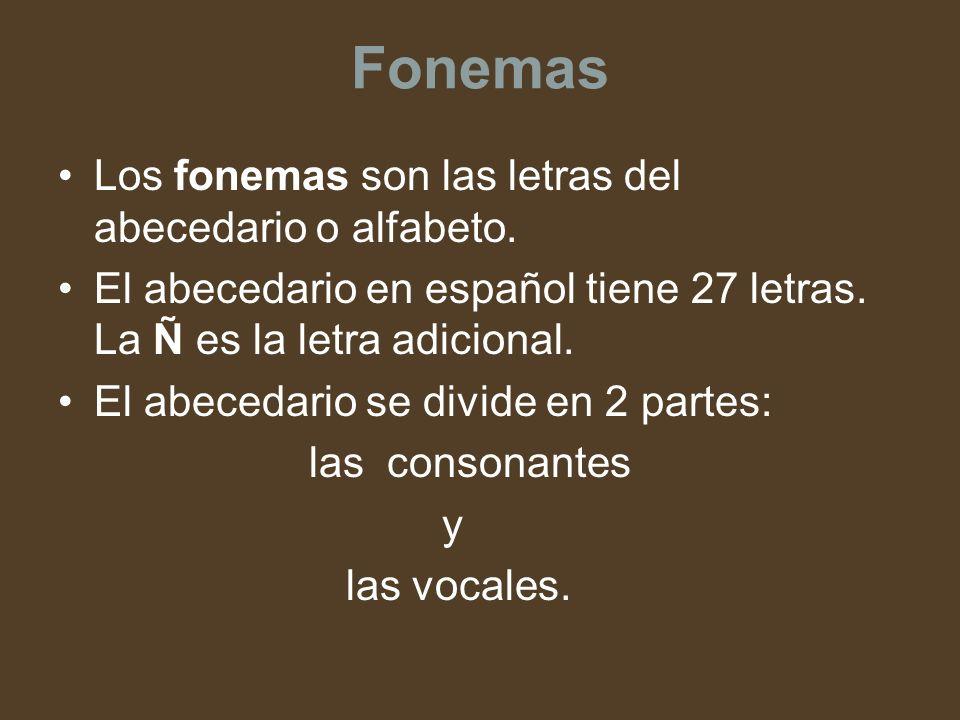 Fonemas Los fonemas son las letras del abecedario o alfabeto.