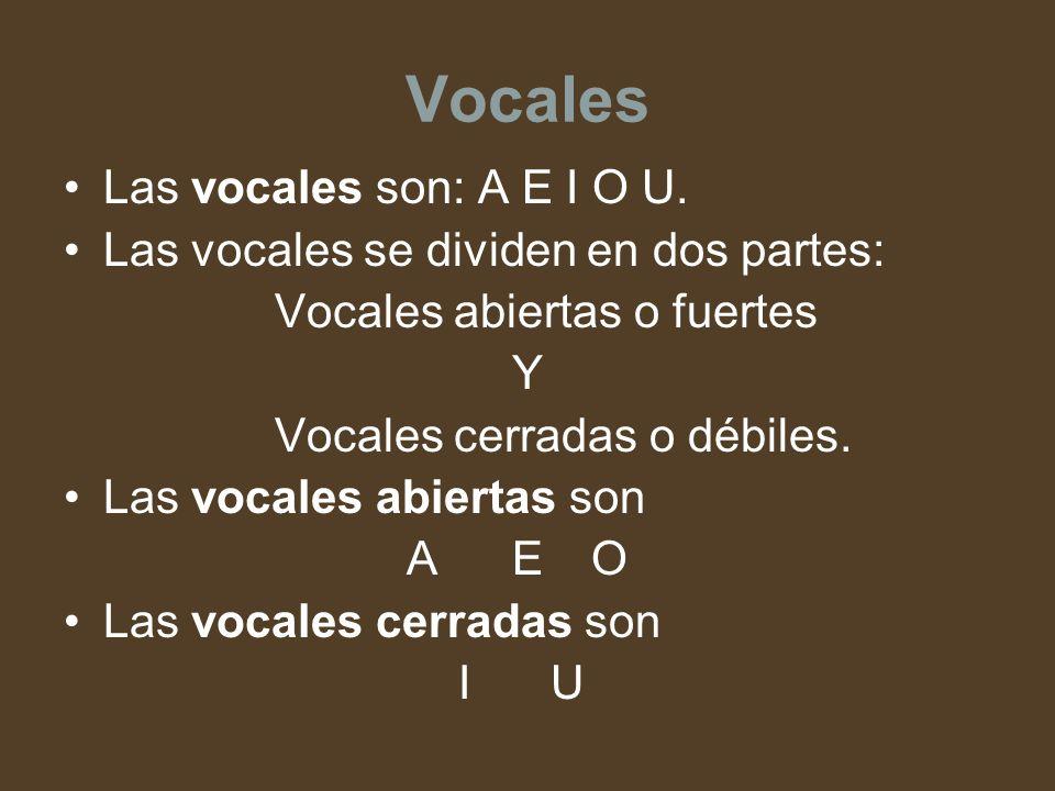 Vocales Las vocales son: A E I O U.