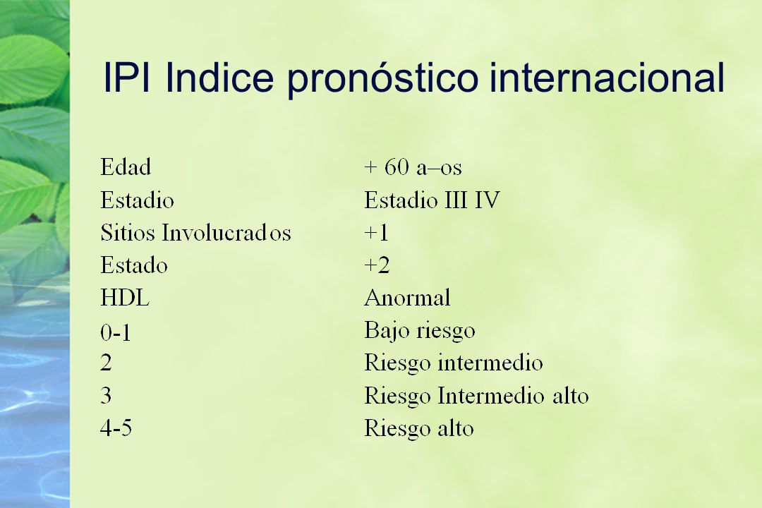 IPI Indice pronóstico internacional