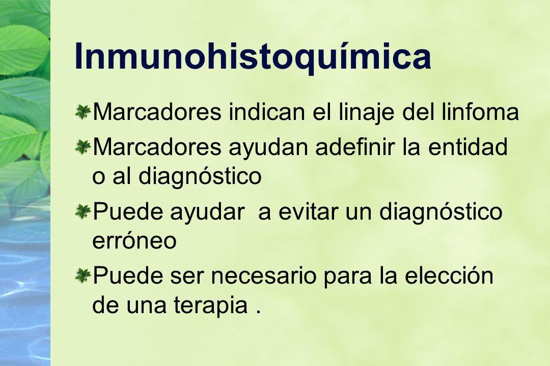 Inmunohistoquímica Marcadores indican el linaje del linfoma