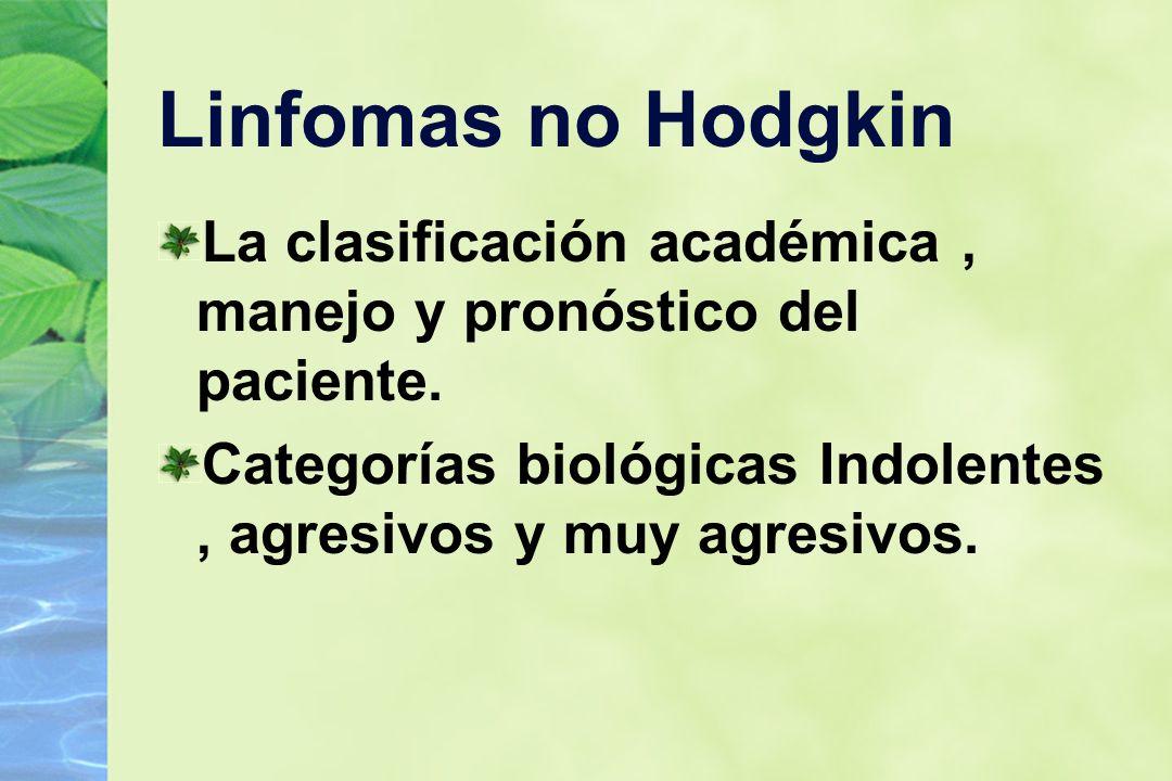 Linfomas no Hodgkin La clasificación académica , manejo y pronóstico del paciente.